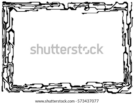 Frame Technical Lines Styling By Electronic Stock Vector (Royalty ...