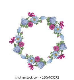 frame template from doodle flowers isolated on white background