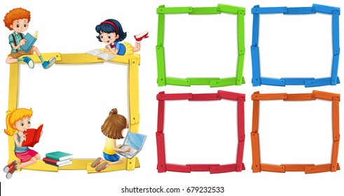 Frame template with happpy children reading books illustration