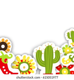 Frame template for the Mexican traditional holiday Cinco de Mayo. Vector illustration for design of cards or invitations.