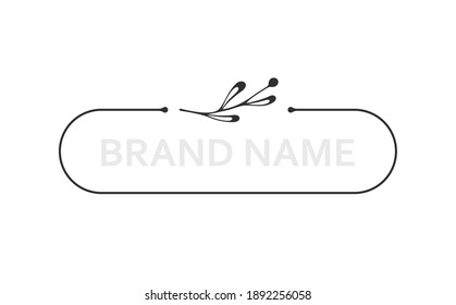 Frame template. Twigs. Hand drawn floral twigs. Vector hand drawn design element. Border with space for text. Leaf twig. Logo template. Plant frame. Flowers frame. Beauty room. Floral element. Brand