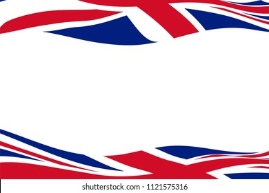 Frame template with two waving United Kingdom flags
