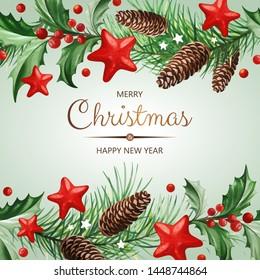 Rahmen mit Text und Weihnachtsdekoration - Holly Blätter, Weihnachtsbaum mit Konen und Sternen auf hellem Hintergrund.