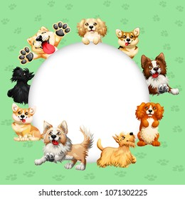 Frame text circle design dogs of different breeds colorful on a green with traces of paws background. Akita, Border Collie, Corgi and other. Vector cartoon illustration for cards, certificates.