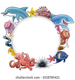 Frame text circle design marine underwater animals and fishes colorful on a white background isolated. Dolphin, pink octopus, shark and other. Vector cartoon illustration for cards, certificates.