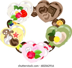 The frame that is made with various sweets of heart