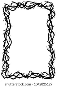 Frame of thorns, graphic element, black and white vector illustration.