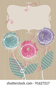 Frame and three flowers on striped background