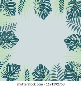 Frame from trendy Summer Tropical Leaves.