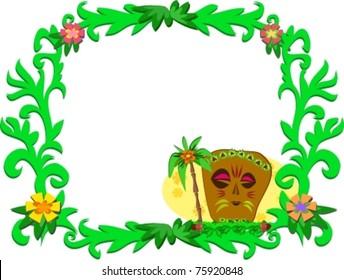 Frame of Tropical Plants and Tiki