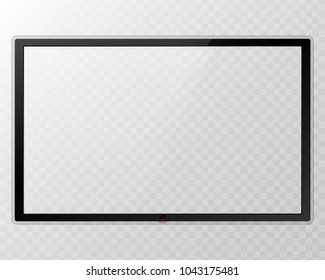 Frame TV. Empty led monitor computer black photo frame isolated on transparent background. Vector blank screen lcd, plasma, panel TV for your design. Frontal view television set