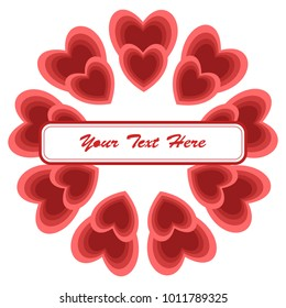 Frame for Valentine's Day. Empty place for text. Red heart on a white background. Greeting poster for lovers, wedding, birthday.