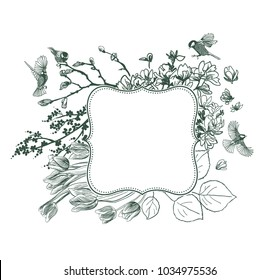 frame vector background victorian spring birds flower