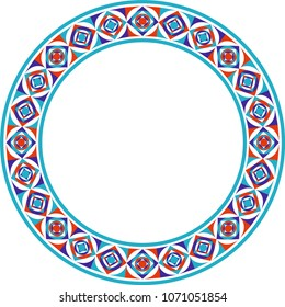 A frame is a vector of color circles and square drawings. It can be used as tile, ceramic, plate, picture frame or wall decoration.