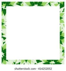 Frame vector flowers leaves green invitation design vector