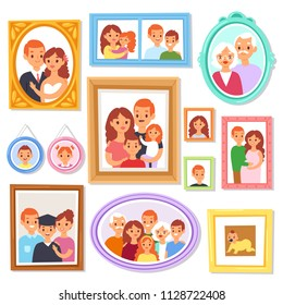 Frame vector framing picture or family photo on wall for decoration illustration set of vintage decorative border for photography with kids and parents isolated on white background