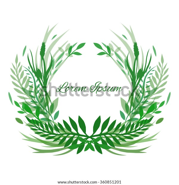 Frame Vector Leaves Plants Herbs Space Stock Vector (Royalty
