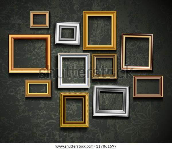 Вектор рамки. Фото или картинка на винтажной стене