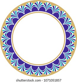 The frame is a vector work consisting of colored arc drawings. It can be used as tile, ceramic, plate, picture frame or wall decoration.