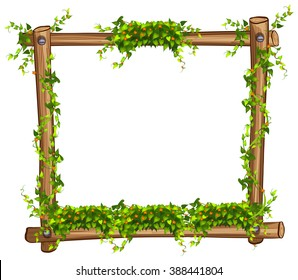 Frame with vine and flowers illustration