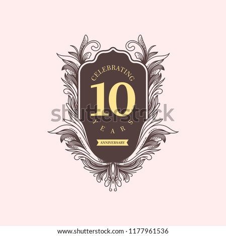 Frame Vintage 10 Years Anniversary Stock Vector Royalty Free