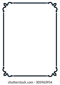Frame vintage line border vector isolated simple
