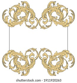 Frame vintage or retro border ornament with baroque style like engraving on classical decor for greeting card and wedding invitation and menu for restaurant.  The foliage swirl victorian or damask.