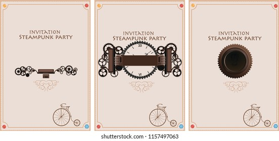 Frame vintage, steampunk mechanical cogs, gears menu invitation