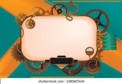 Frame vintage, steampunk mechanical cogs, gears or menu invitation