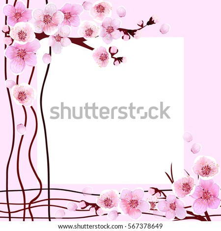 Frame Wedding Spring Flowers Blooming Background Stock Vector ...