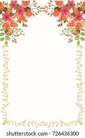 Frame from wild charming flowers. Greeting card template. Design artwork for the poster, invitation, calendars. Place for text.