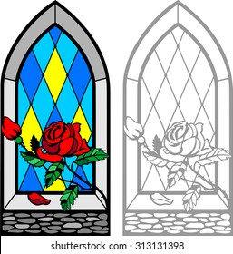 Frame window with Red Rose on windowsill. Glass in gothic style, lancet. Stained glass window  background. It Can be used for flayers, banners, posters.Vector illustration.