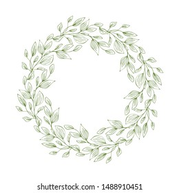 Frame of wreath with leaves and branches. Decor design with copyspace isolated on white. Sketched floral and herbs garland. Handdrawn vector style, nature illustration
