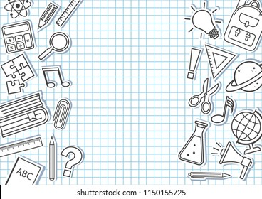 Frame for your text with school supplies on checkered background. Vector illustration