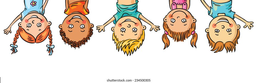 Frame/border with kids hanging upside down