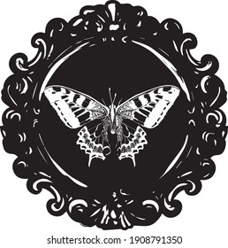 Framed Butterfly - black and white stylized vector