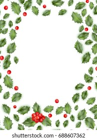 Framed holly isolated on white background. And also includes EPS 10 vector