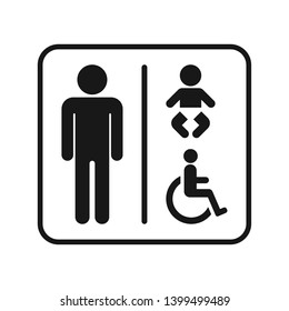 Framed male toilet sign with handicap and baby changing station symbols