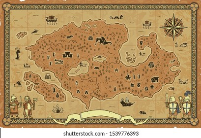 Framed medieval fantasy map on a parchment background with a banner, knights, a compass and many icons: castle, dragon, ships, magician, warriors, dungeon, goblin, skeleton, catapult, archers, etc.