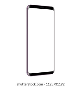 Frameless cellphone mock up with blank screen - 3/4 left perspective view. Vector illustration