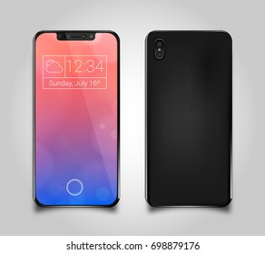 Frameless futuristic smartphone with glossy screen in black color, front & back, Iphone 8