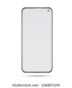 Frameless smartphone isolated on white background. Mobile phone with blank transparent screen. Vector illustration