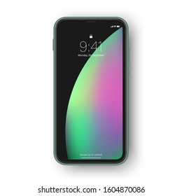 Frameless smartphone, lock screen with interface elements as time,. Realistic high detailed green frameless phone