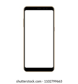 Frameless smartphone mock up with blank screen isolated on white background. Vector illustration