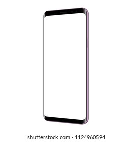 Frameless smartphone mockup with blank screen - 3/4 right perspective view. Vector illustration