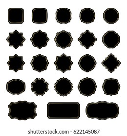 Frames black silhouettes collection isolated on white background.
