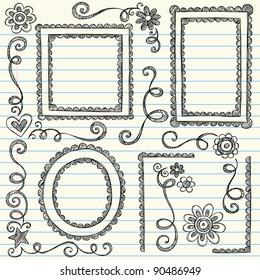 Frames and Borders Hand-Drawn Sketchy Scalloped Notebook Doodles Ornamental Set- Vector Illustration Design Elements on Lined Sketchbook Paper Background