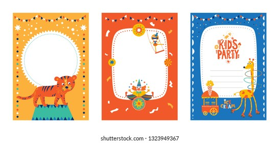 Frames, borders set for baby's photo album, invitation, or postcard with cute circus elements in cartoon style and tiger, clown, giraffe, food truck with ice cream, kid's party text, acrobat.