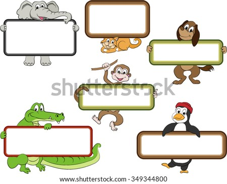 Frames Cartoon Animals Blank Labels Held Stock Vector (Royalty Free ...