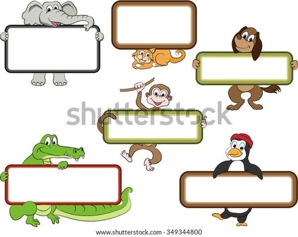 Frames Cartoon Animals Blank Labels Held Stock Vector